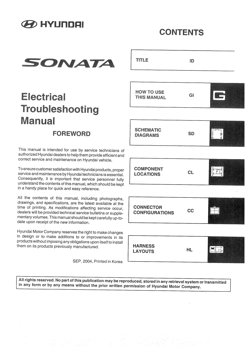 Hyundai Sonata NF shop manual for repair with included Electrical  Troubleshooting Manual and body manul Sonata NF .zip. You can choose free  download for ...